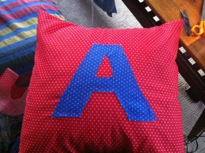 Letter cushion for Aaron