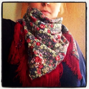 Scarf for Jackie, modelled by me!